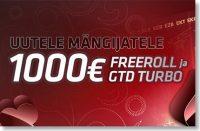 UUTELE MÄNGIJATELE €888 & €1000 FREEROLLID +€500 GTD TURNIIR triobet Triobet 1000 uutele olybet pokker boonused 1 200x131