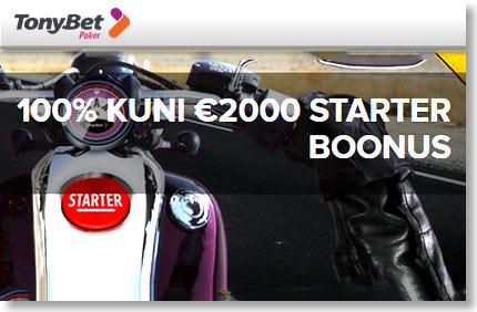 100% KUNI €2000 TERVITUSBOONUS +€10 TASUTA PILET €2500 GTD TURNIIRILE FREEROLLID FREEROLLID tonybet pokker 2000 liitumisboonus 1