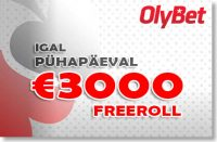 OLYBET - IGAL LAUPÄEVAL €1000 JA PÜHAPÄEVAL €3000 FREEROLL triobet Triobet olybet 3000 freeroll boonused 1 200x131