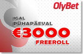 OLYBET - IGAL LAUPÄEVAL €1000 JA PÜHAPÄEVAL €3000 FREEROLL Olybet Olybet olybet 3000 freeroll boonused 1 275x180