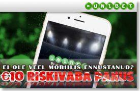 Tee oma esimene mobiilil tehtud ennustus riskivabalt! riskivaba live ennustus TEE €25 SUURUNE SPORDIPANUS NING SAAD OMALE €10 RISKIVABA LIVE ENNUSTUSE unibet mobiiliga riskivaba panus boonused 1 275x180