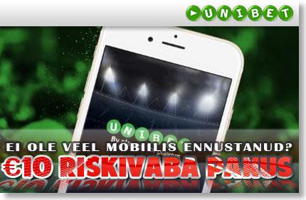 Tee oma esimene mobiilil tehtud ennustus riskivabalt! riskivaba panus Riskivaba Panus unibet mobiiliga riskivaba panus boonused 1