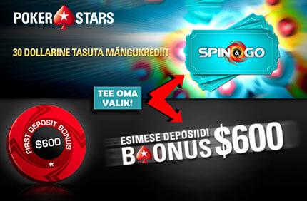 SAA ESIMESEL SISSEMAKSEL 100% DEPOSIITBOONUS KUNI $600 FREEROLLID FREEROLLID pokerstars esimese deposiidi boonused 1