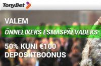 """ÕNNELIKEKS ESMASPÄEVADEKS: """"50% KUNI €100 DEPOSIITBOONUS"""" olybet Olybet valem tonybet kasiino boonused 1 200x131"""