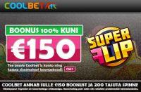 €150 boonust olybet Olybet coolbet kasiino boonus super flip spinnid 2 200x131