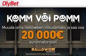 Halloween tasuta raha DEPSIITI EI OLE VAJA TEHA! LIITUMISEL SAAD KOHESELT 10 EUROT TASUTA RAHA KASIINOS MÄNGIMISEKS! olybet komm pomm auhinnad boonused 1 275x180