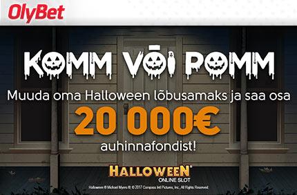 Halloween halloween TEE HALLOWEEN LÕBUSAKS – MÄNGI KAMPAANIAMÄNGE JA SAA OSA €20 000 SUURUSEST AUHINNAFONDIST olybet komm pomm auhinnad boonused 1