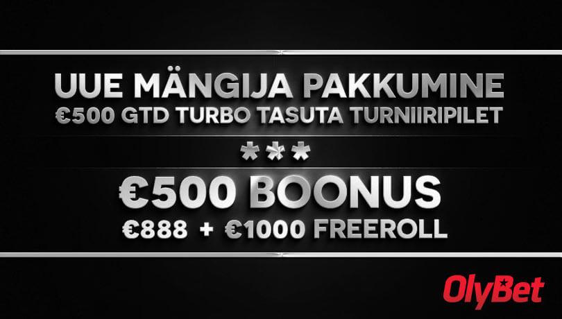 freerollid UUTELE MÄNGIJATELE €888 & €1000 FREEROLLID +€500 GTD TURNIIR olybet pokker boonus freeroll 500
