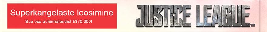 Justice League suurusest auhinnafondist MÄNGI VALITUD SLOTIKATEL, KOGU LOOSIPILETEID JA SAA OSA €330 000 SUURUSEST AUHINNAFONDIST! olybet kasiino justice league 880x107