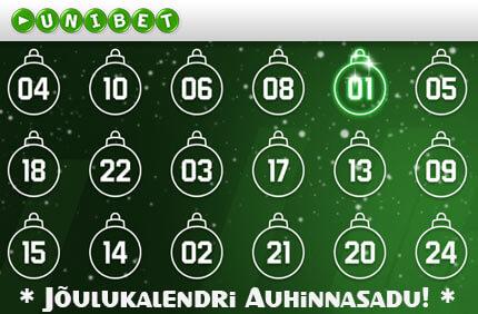 Unibet'i Advendikalender kasiino kampaaniad ONLINE KASIINO KAMPAANIAD, SPORDIENNUSTUSE KAMPAANIAD JA POKKERI KAMPAANIAD NING BOONUSED TUBADE JÄRGI joulukalendri auhinnasadu unibet boonused 1