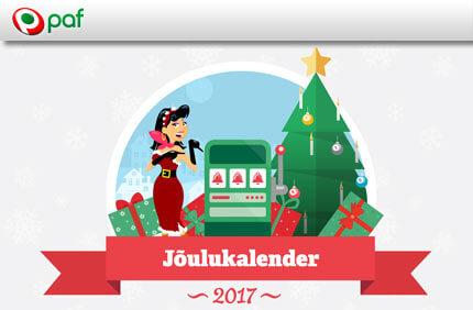 Jõulukalender  AVA PAF JÕULUKALENDRI AKEN NING VÕIDA KOHESELT AUHIND + KOGU OMALE TASUTA KEERUTUSI paf joulukalender 2017 boonused kasiino 1
