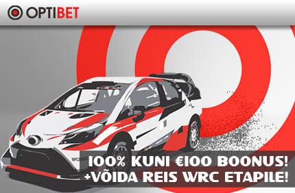 REIS WRC ETAPILE  KASUTA OPTIBETI SPORDIENNUSTUSE €100 TERVITUSBOONUST + VÕIDA REIS KAHELE WRC ETAPILE deposiidiboonus reis wrc etapile optibet boonused 1