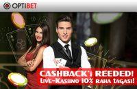 Cashback'i reeded tasuta raha TASUTA RAHA optibet cashback reede live kasiino boonused 1 200x131