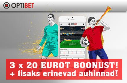 €20 boonus €20 boonus SAA 3 x €20 BOONUSED + OSALE AUHINDADE LOOSIMISEL, KUS PEAAUHINNAKS ON 55'' SAMSUNG LED TV optibet boonused auhinnad jalgpall sport 1